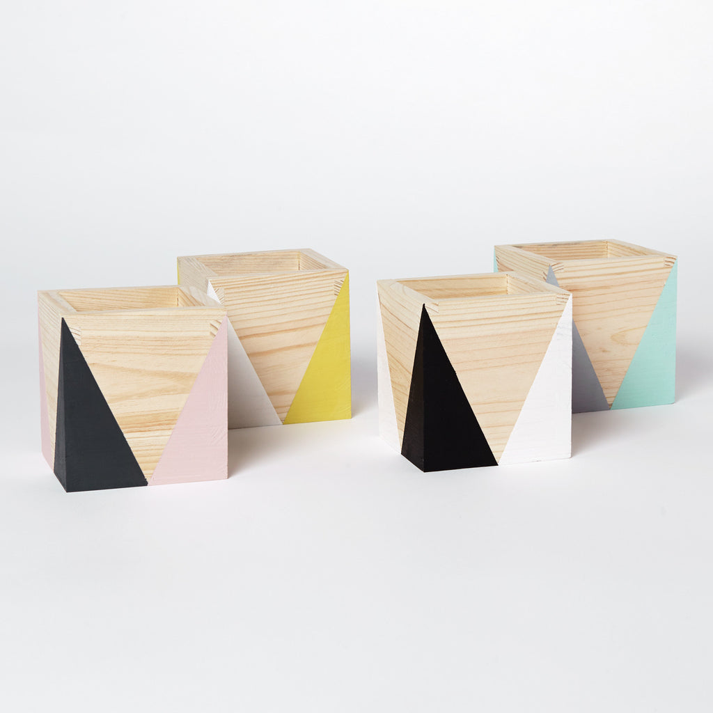 Geometric wooden pot - Happy Little Folks