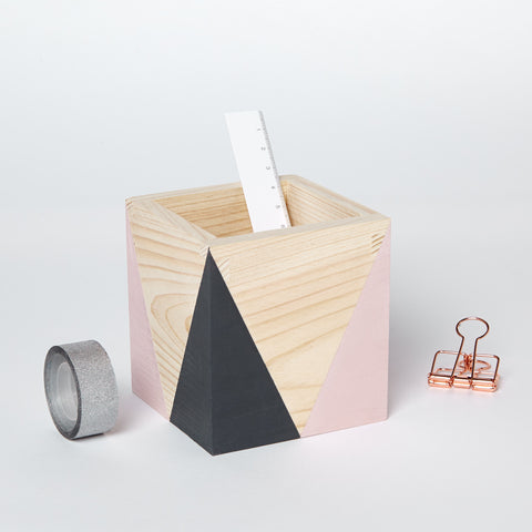 Geometric wooden pot - happylittlefolks - 1