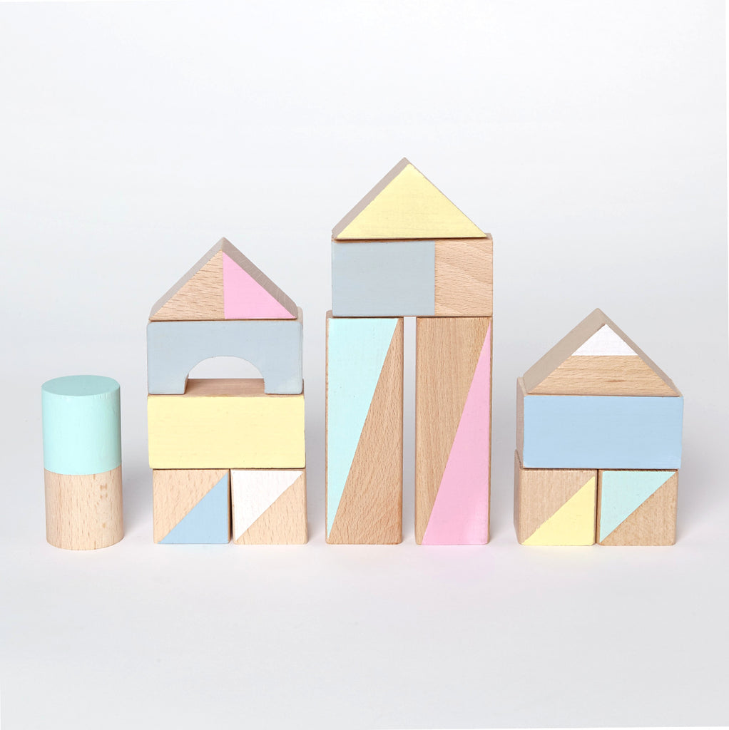 Wooden building blocks - Summer colours - 24 pieces - Happy Little Folks