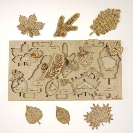 Wooden puzzle - What's fallen from the tree ? - Happy Little Folks