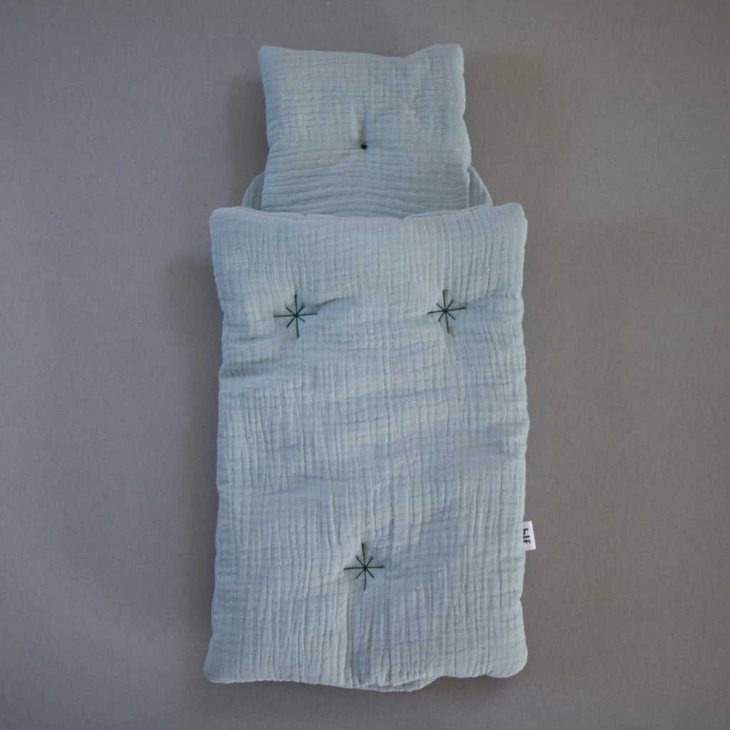 NEW! Muslin cotton doll bedding set - Light green - Happy Little Folks