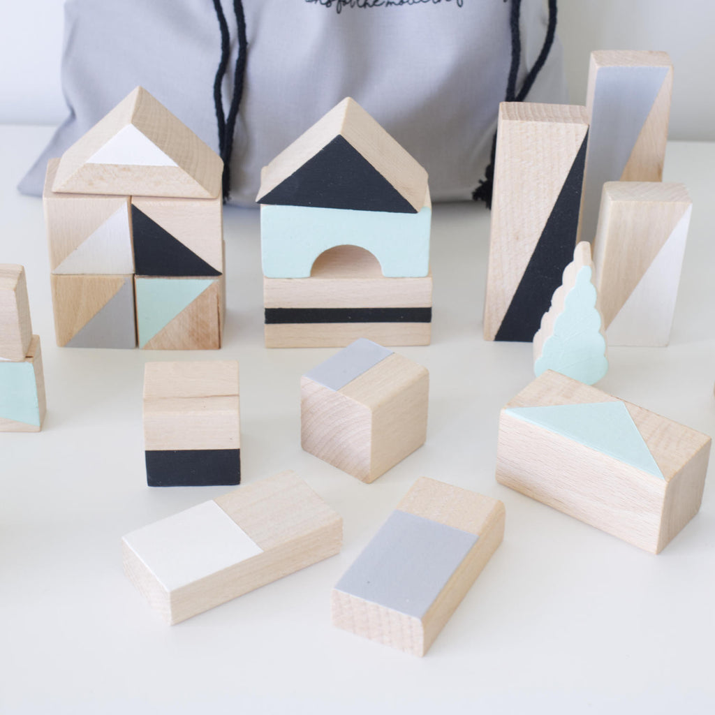Wooden building blocks - Mint & monochrome - Happy Little Folks