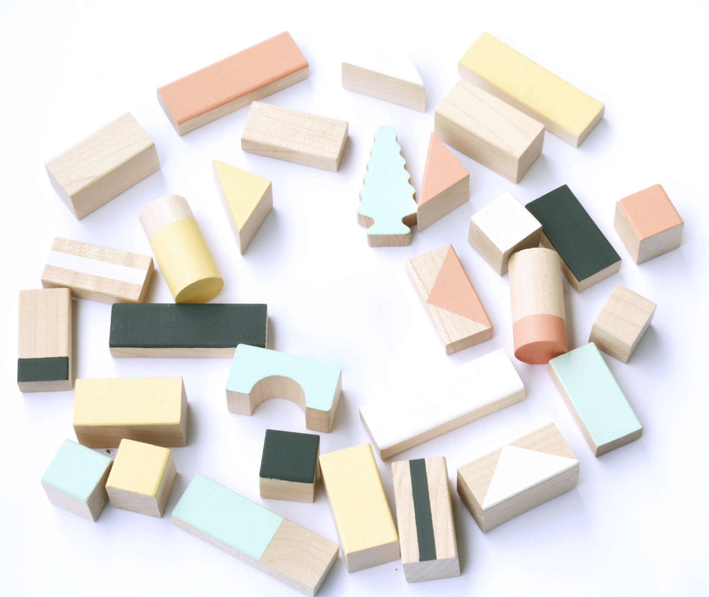 Wooden building blocks - Mixed colours - 24 pieces - Happy Little Folks