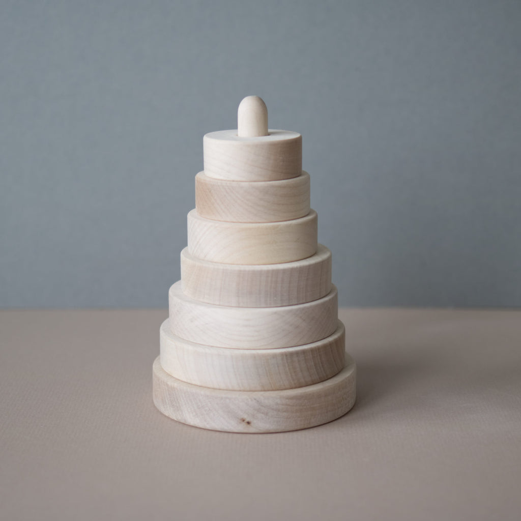 Wooden stacking pyramid - Natural - Happy Little Folks