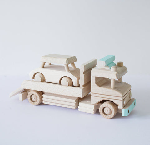 Wooden car transporter toy - Happy Little Folks