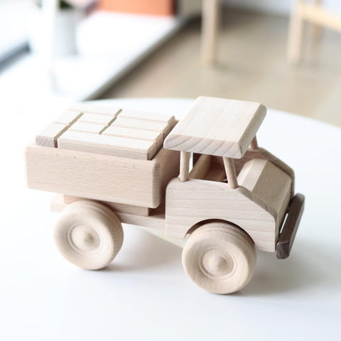 Wooden truck toy with blocks