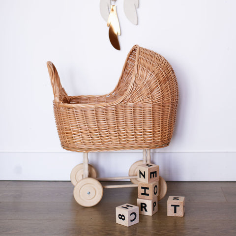Wicker doll pram - Natural - PRE ORDER - Happy Little Folks