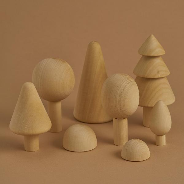 Wooden trees set - Natural - Raduga Grez - Happy Little Folks
