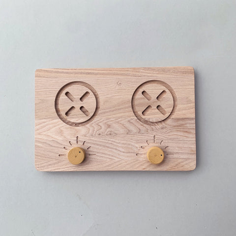 Wooden cooktop toy - custom colour choice