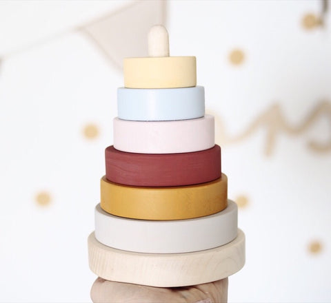 Wooden stacking pyramid - Custom colour choice - Happy Little Folks