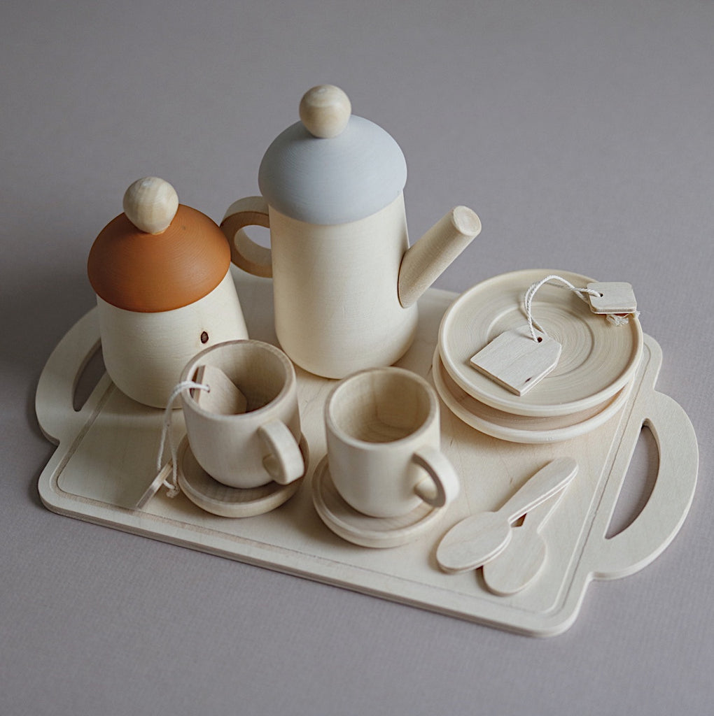 Handcrafted Wooden Tea Set - Custom Colour choice