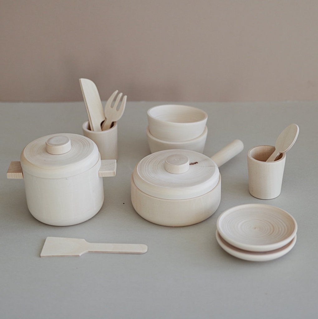 Wooden Cooking set - Natural - Happy Little Folks