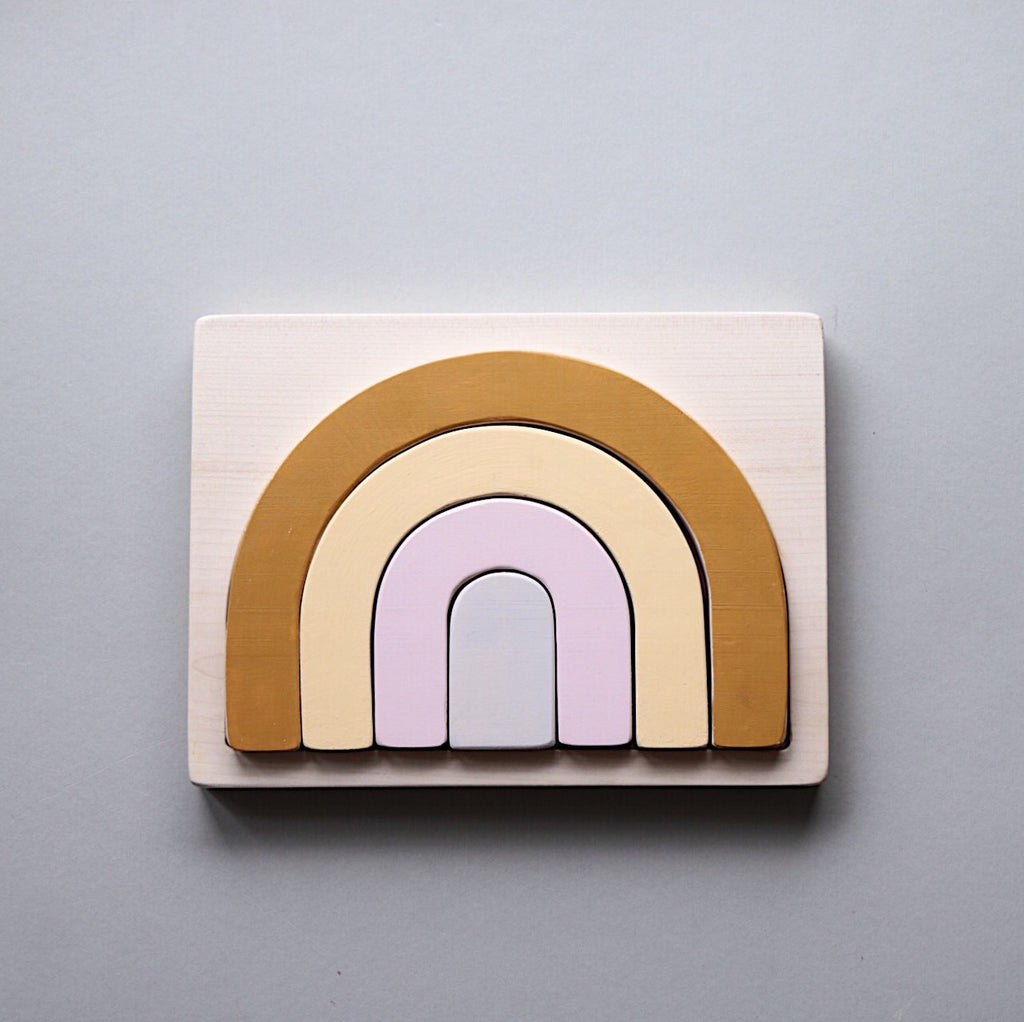 Wooden Rainbow Puzzle - Custom colour choice or Natural - Happy Little Folks