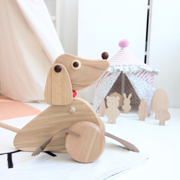 Wooden push along dog toy