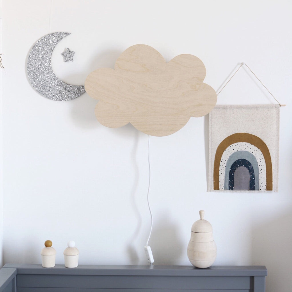 Wooden cloud wall lamp - Happy Little Folks