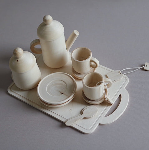 Handcrafted Wooden Tea Set - Natural