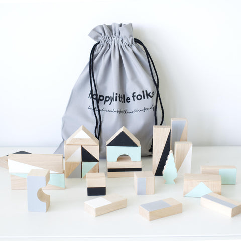 Wooden building blocks for babies and toddler - Mint and monochrome