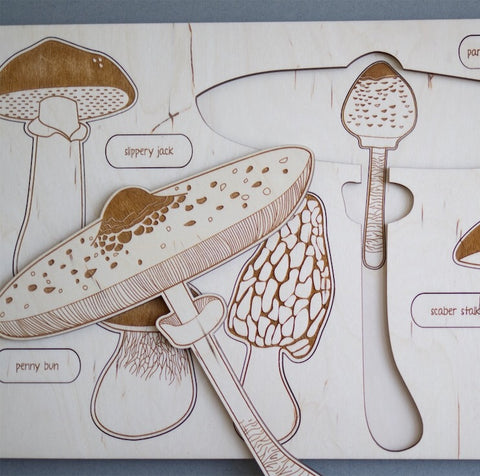 Wooden puzzle - Mushroom species - Happy Little Folks