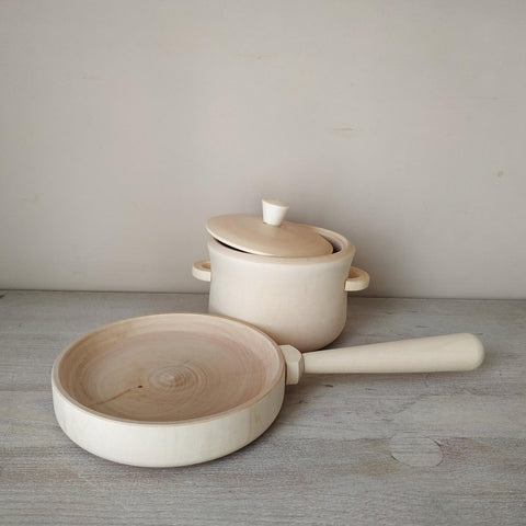 Wooden Pot & Pan play set  - Natural or Custom colour choice - Happy Little Folks