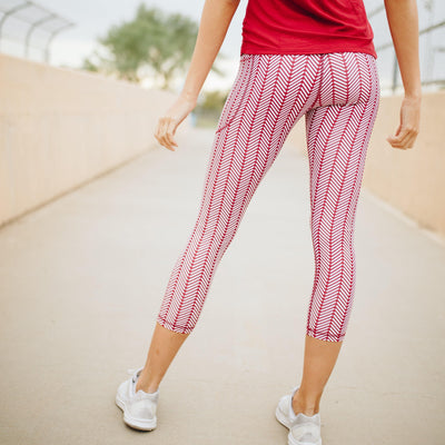 7/8 Boho Capris - Burnt Red Herringbone