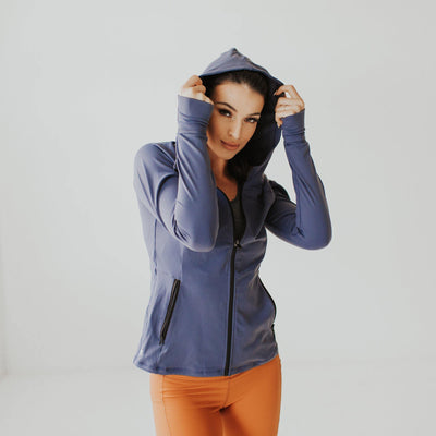 Cora Zip Up Jacket -Light Navy