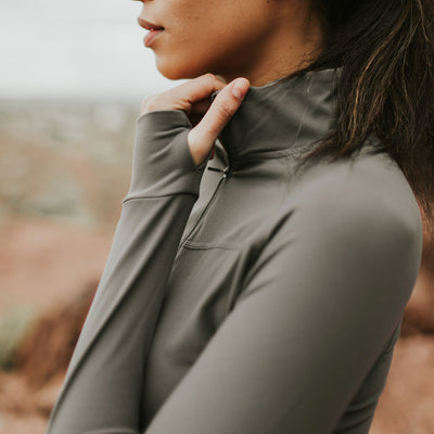 Thermal Brushed Pull Over - Gray