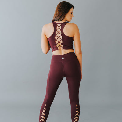 Laced Up Crop Top - Plum