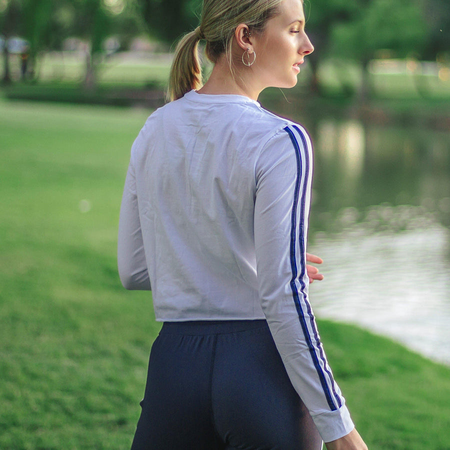 Sporty Cropped Long Sleeve - White