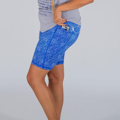 Lux High Waisted Rio Shorts (7 in. inseam) - Sweet Blue Dots