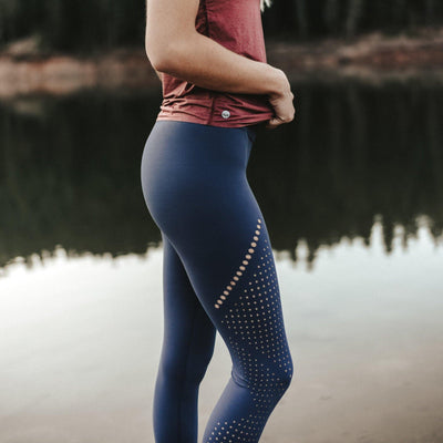 Alpine Laser Cut Leggings - Light Navy - Senita Athletics