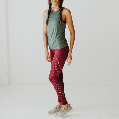 Alpine Laser Cut Leggings - Mulberry - Senita Athletics