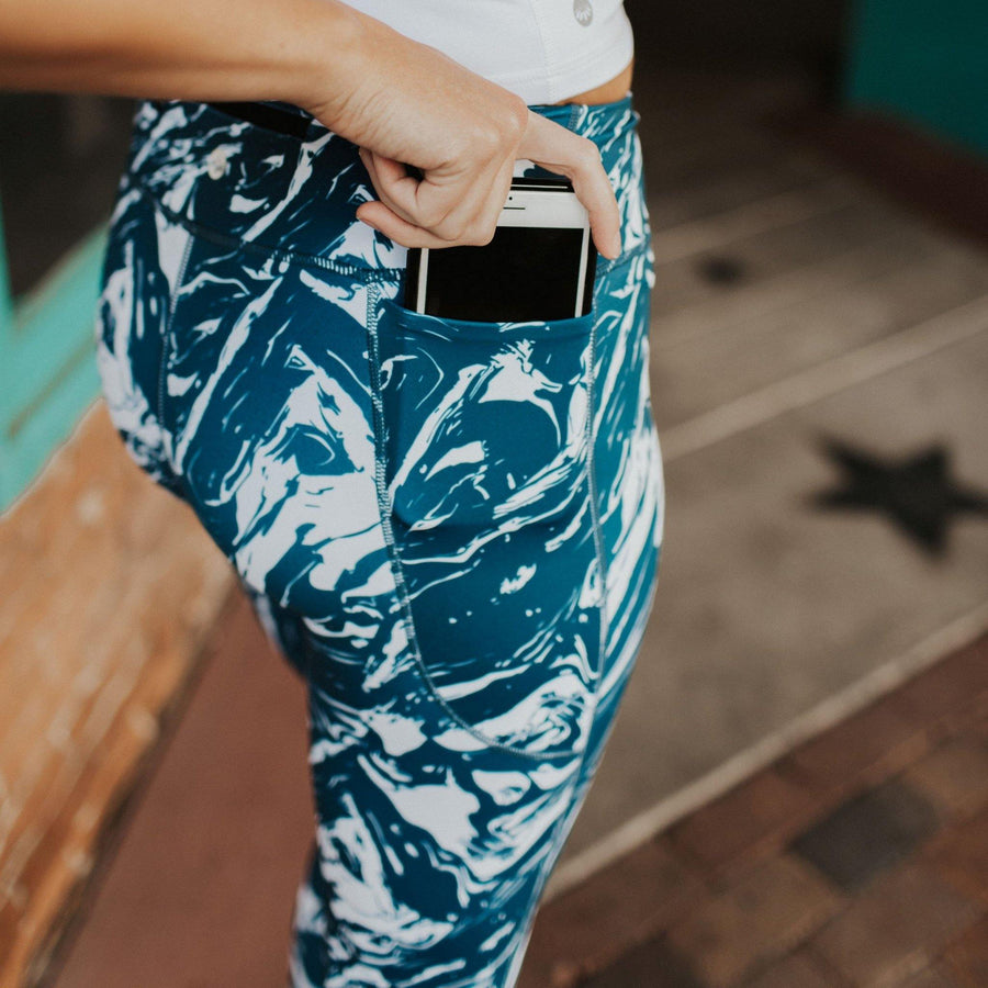 AMP Leggings - Marine Marble - Senita Athletics