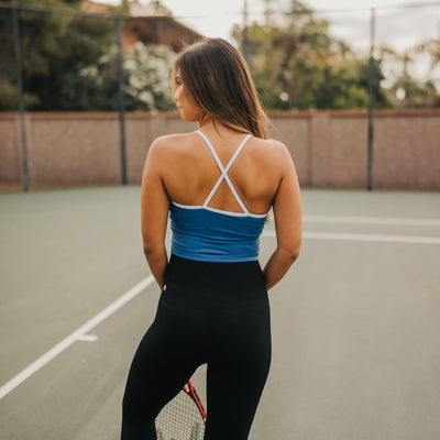 Ava Crop Top - Classic Blue - Senita Athletics