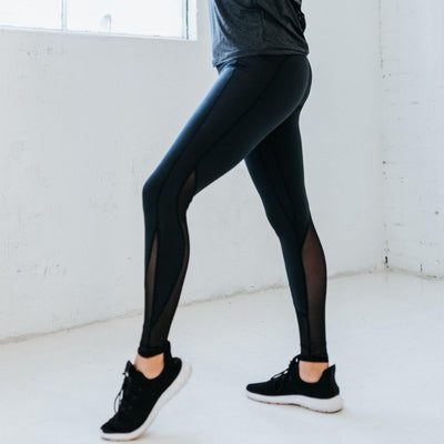 Barre Mesh Leggings - Black - Senita Athletics