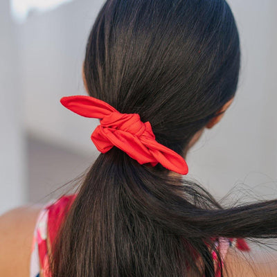 Bow Scrunchie - Ribbed Cherry - Senita Athletics