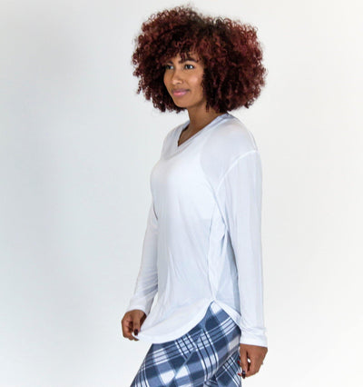 Boyfriend Long Sleeve - White - Senita Athletics