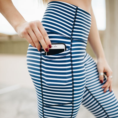 High Waisted Capris - Nautical Stripe - Senita Athletics