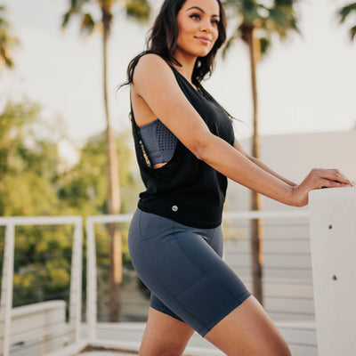 High Waisted Rio Shorts (7 in. inseam) - Light Navy - Senita Athletics