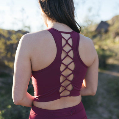 Laced Up Crop Top - Merlot - Senita Athletics