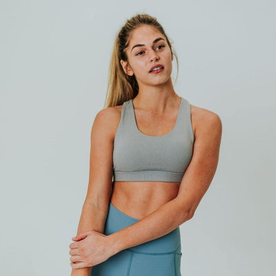 Lattice Back Sports Bra - Heathered Gray - Senita Athletics