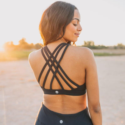Lattice Back Sports Bra - Navy - Senita Athletics