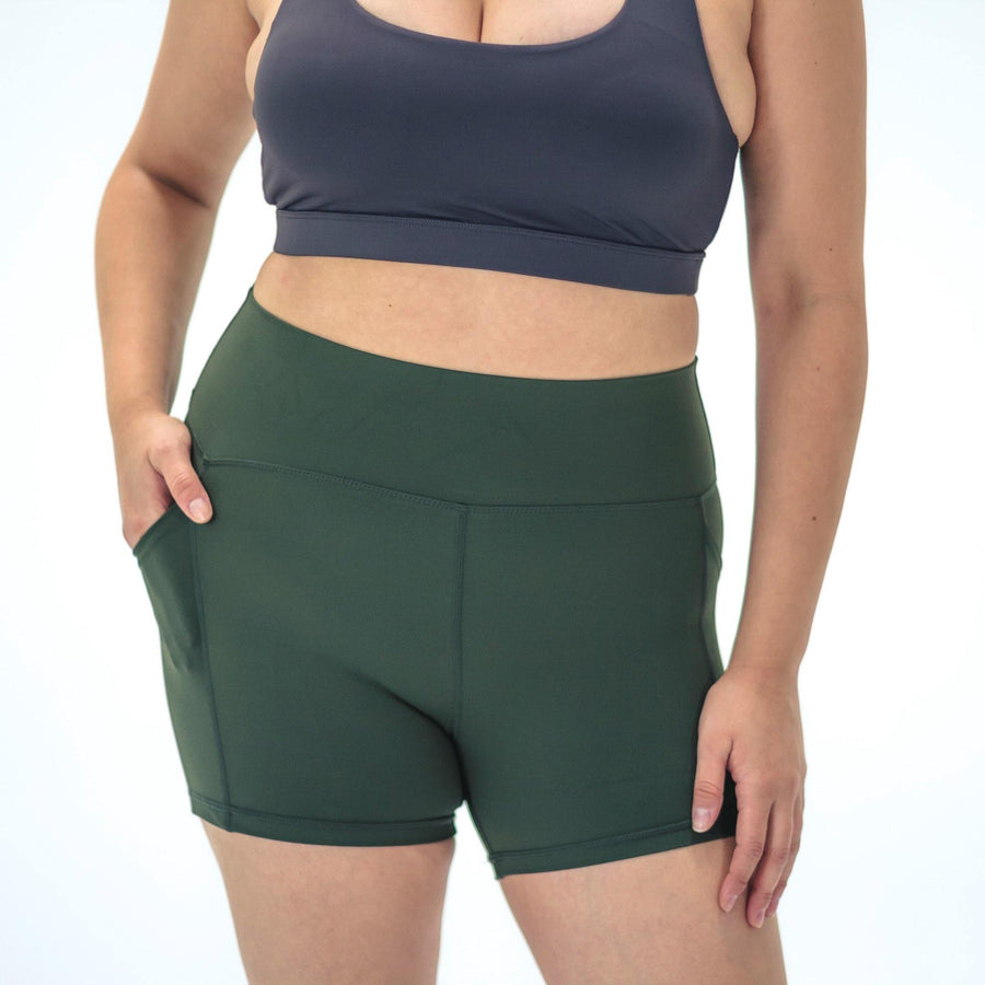 Lux High Waisted Rio Shorts (3.75 in. inseam) - Evergreen - Senita Athletics