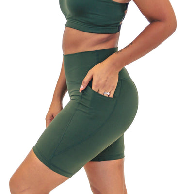 Lux High Waisted Rio Shorts (7 in. inseam) - Evergreen - Senita Athletics