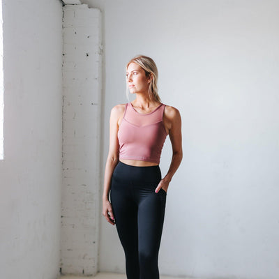 Mesh Crop Top - Mauvelous - Senita Athletics