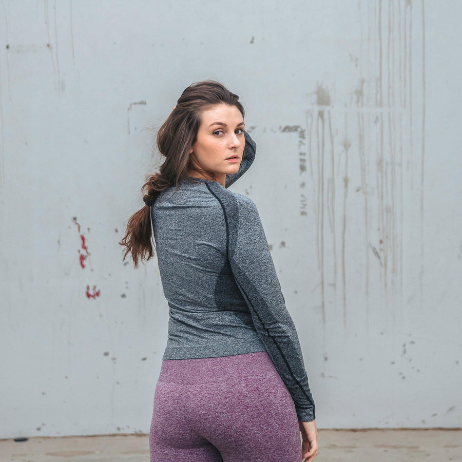 Seamless Power Long Sleeve - Gray - Senita Athletics