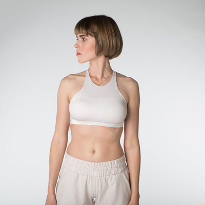 High Neck Sports Bra - Fawn