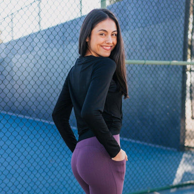 Twisted Cropped Long Sleeve - Black - Senita Athletics