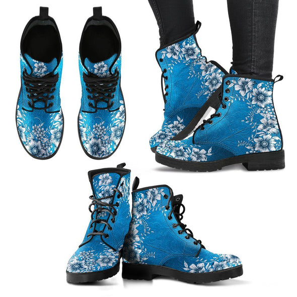 Blue Floral Handcrafted Boots