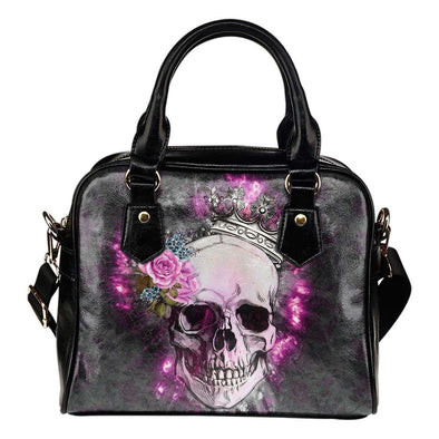Skull Wearing Crown Shoulder Handbag