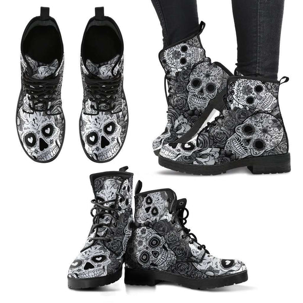 Black & White Sugar Skull Handcrafted Boots